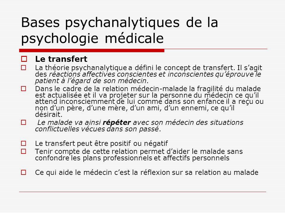 Bases psychanalytiques de la psychologie médicale Le contre-transfert Le contre-transfert est constitué par les réactions affectives conscientes et inconscientes quéprouve le médecin vis à vis de son patient.