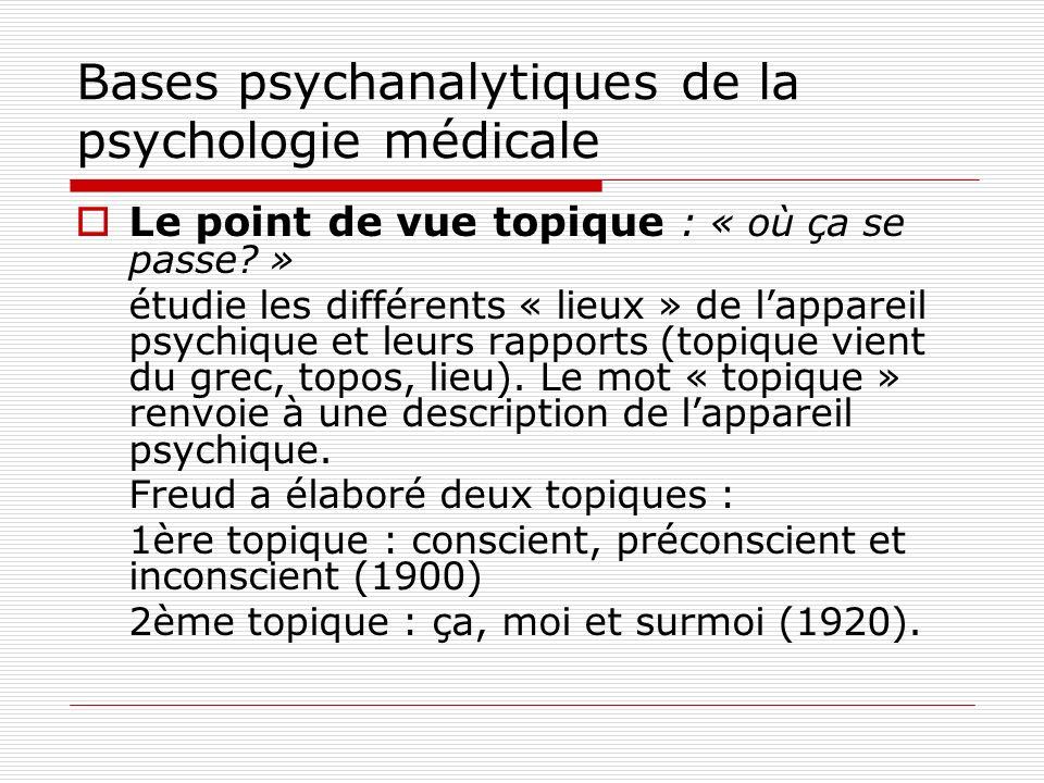 Bases psychanalytiques de la psychologie médicale Dans la relation médecin malade, la maladie entraîne une régression du moi, donc le malade peut présenter des aspects infantiles inconscients, mais ce nest pas un enfant Il est important de faire appel à sa « partie saine » pour soigner ensemble sa « partie malade »