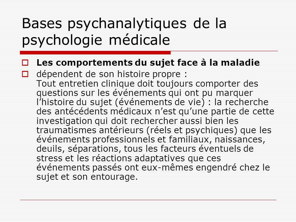 Bases psychanalytiques de la psychologie médicale La relation médecin-malade La relation thérapeutique médecin-malade est déterminée par de nombreux facteurs, individuels et socio-culturels.