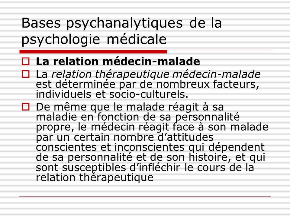 Bases psychanalytiques de la psychologie médicale Les particularités psychiques du médecin Le choix individuel de la profession Il sexplicite par des motivations conscientes sous-tendues par des mobiles plus inconscients.