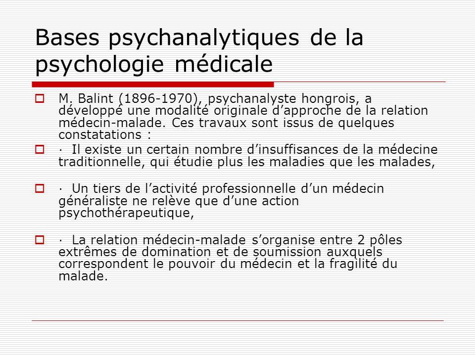 Bases psychanalytiques de la psychologie médicale Pour Balint, le médecin est un remède en soi, même si son action est médiatisée par un médicament.