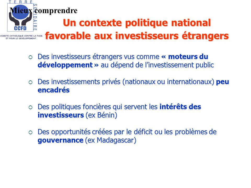 Des investisseurs étrangers vus comme « moteurs du développement » au dépend de linvestissement public Des investisseurs étrangers vus comme « moteurs du développement » au dépend de linvestissement public Des investissements privés (nationaux ou internationaux) peu encadrés Des investissements privés (nationaux ou internationaux) peu encadrés Des politiques foncières qui servent les intérêts des investisseurs (ex Bénin) Des politiques foncières qui servent les intérêts des investisseurs (ex Bénin) Des opportunités créées par le déficit ou les problèmes de gouvernance (ex Madagascar) Des opportunités créées par le déficit ou les problèmes de gouvernance (ex Madagascar) Un contexte politique national favorable aux investisseurs étrangers Mieux comprendre