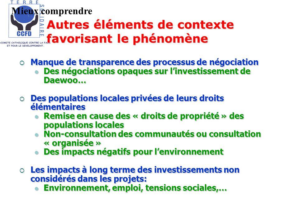 Manque de transparence des processus de négociation Manque de transparence des processus de négociation Des négociations opaques sur linvestissement d