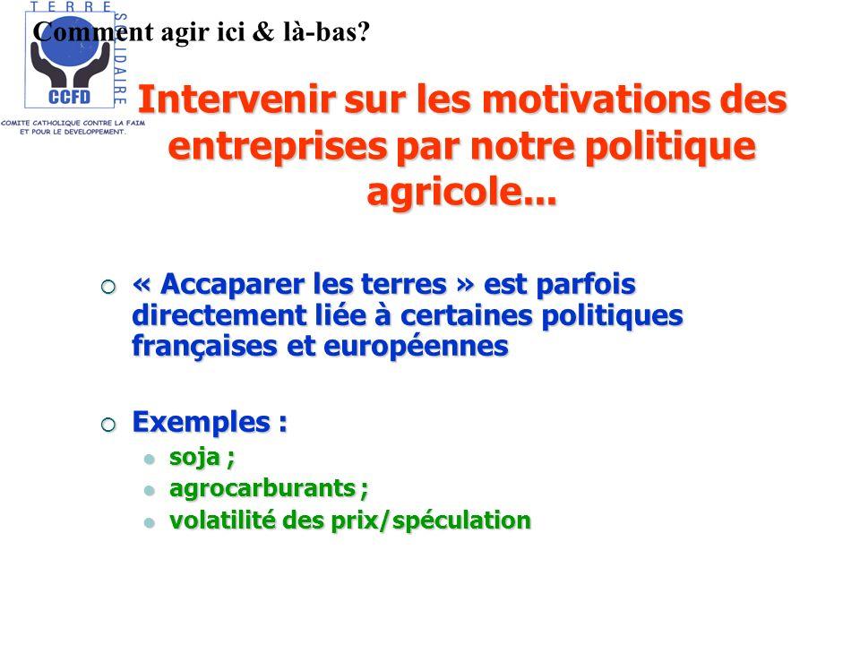 Intervenir sur les motivations des entreprises par notre politique agricole... « Accaparer les terres » est parfois directement liée à certaines polit