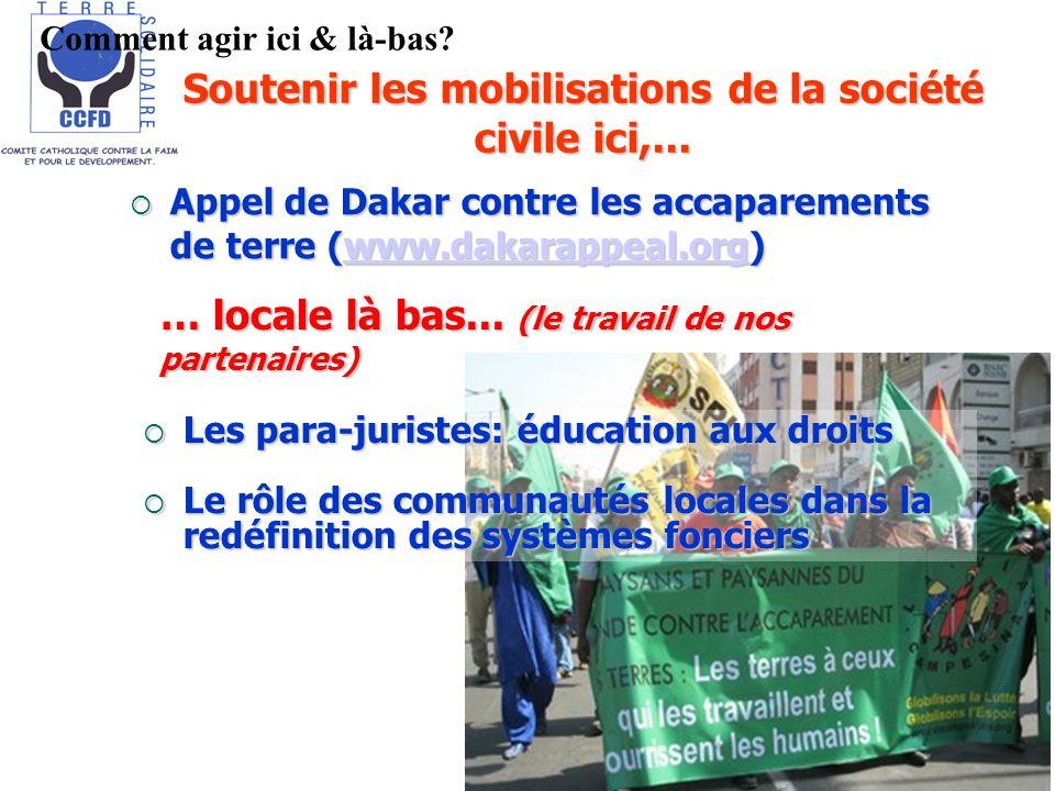 Soutenir les mobilisations de la société civile ici,... Appel de Dakar contre les accaparements de terre (www.dakarappeal.org) Appel de Dakar contre l
