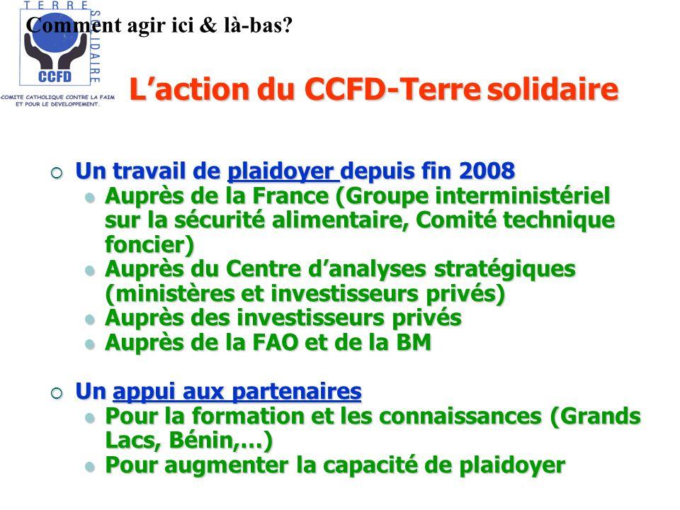 Laction du CCFD-Terre solidaire Un travail de plaidoyer depuis fin 2008 Un travail de plaidoyer depuis fin 2008 Auprès de la France (Groupe interminis