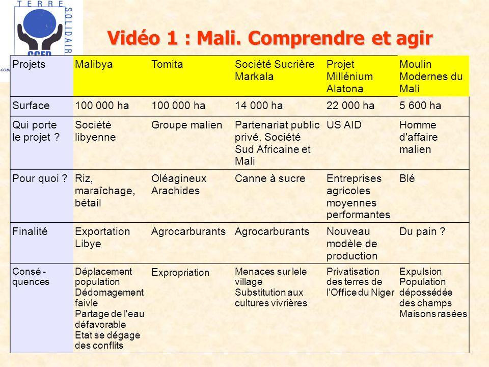 Vidéo 1 : Mali. Comprendre et agir ProjetsMalibyaTomitaSociété Sucrière Markala Projet Millénium Alatona Moulin Modernes du Mali Surface100 000 ha 14
