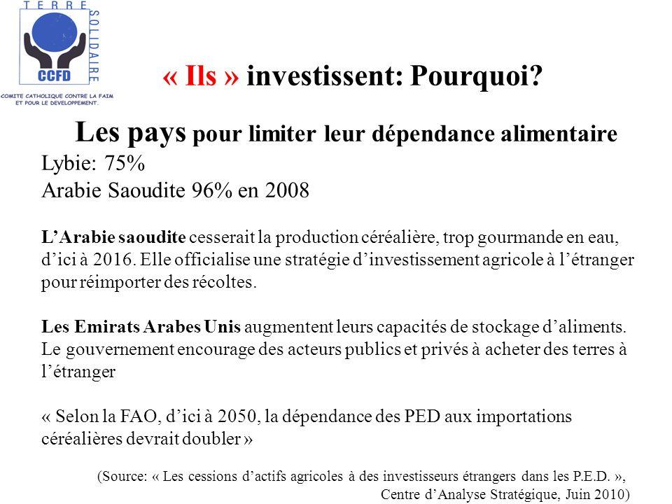« Ils » investissent: Pourquoi? C Les pays pour limiter leur dépendance alimentaire Lybie: 75% Arabie Saoudite 96% en 2008 LArabie saoudite cesserait