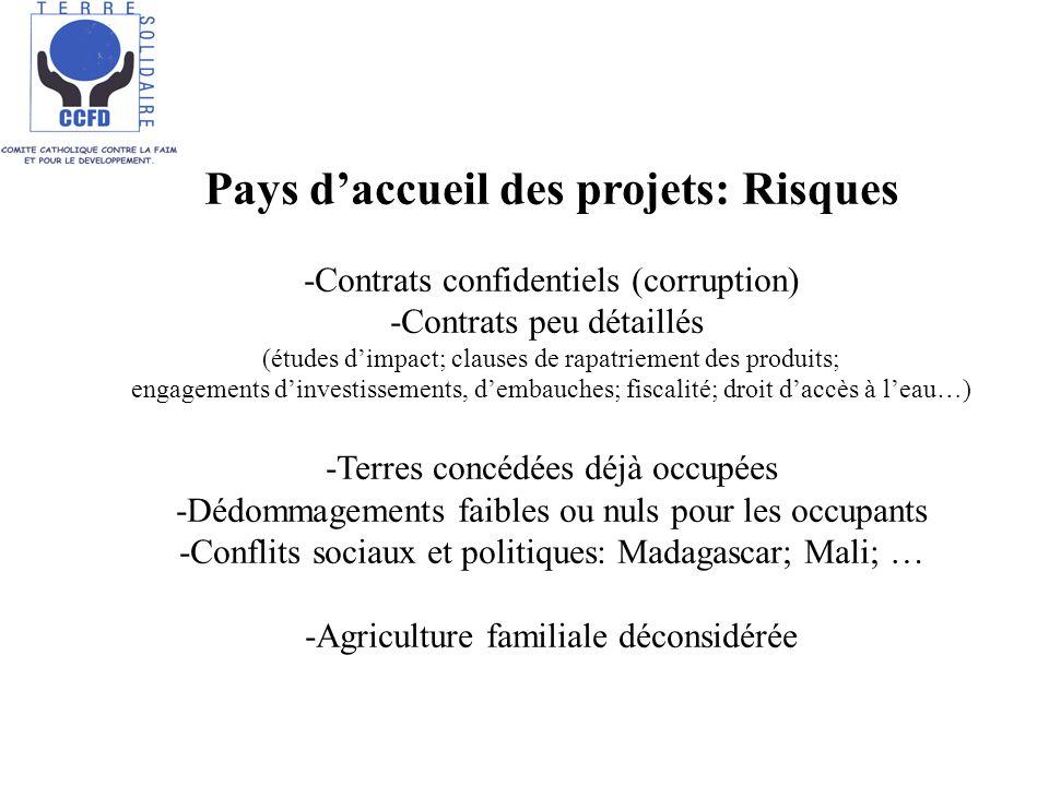 Pays daccueil des projets: Risques -Contrats confidentiels (corruption) -Contrats peu détaillés (études dimpact; clauses de rapatriement des produits; engagements dinvestissements, dembauches; fiscalité; droit daccès à leau…) -Terres concédées déjà occupées -Dédommagements faibles ou nuls pour les occupants -Conflits sociaux et politiques: Madagascar; Mali; … -Agriculture familiale déconsidérée