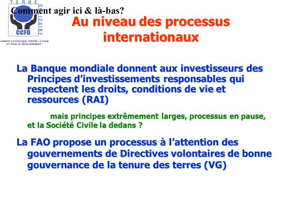La Banque mondiale donnent aux investisseurs des Principes dinvestissements responsables qui respectent les droits, conditions de vie et ressources (R