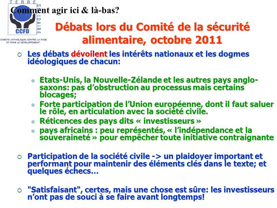 Débats lors du Comité de la sécurité alimentaire, octobre 2011 Les débats dévoilent les intérêts nationaux et les dogmes idéologiques de chacun: Les d