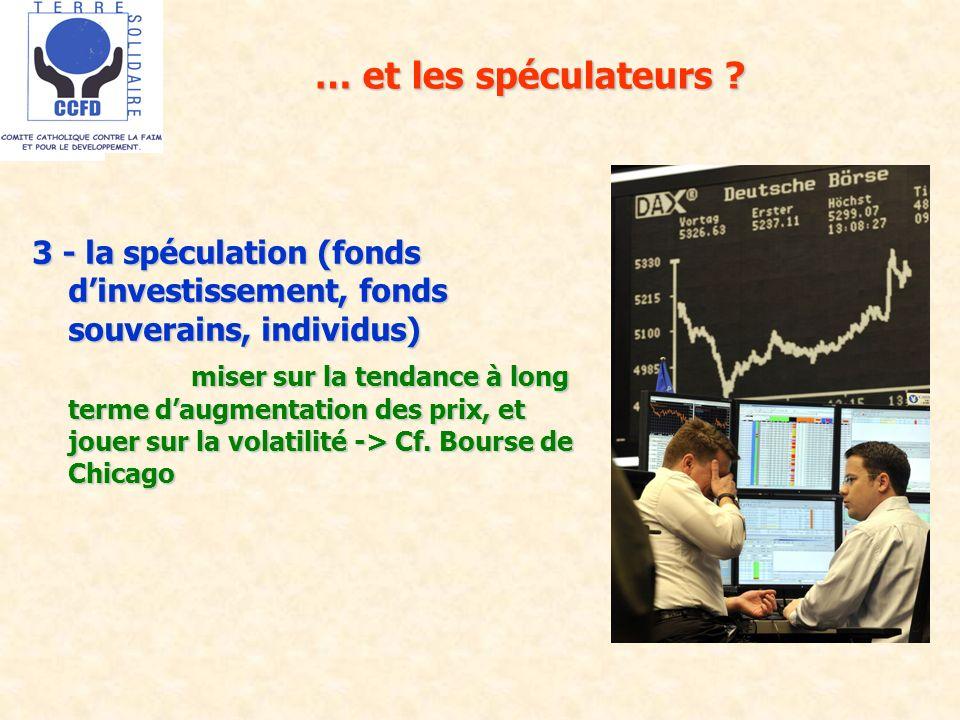 … et les spéculateurs ? 3 - la spéculation (fonds dinvestissement, fonds souverains, individus) miser sur la tendance à long terme daugmentation des p