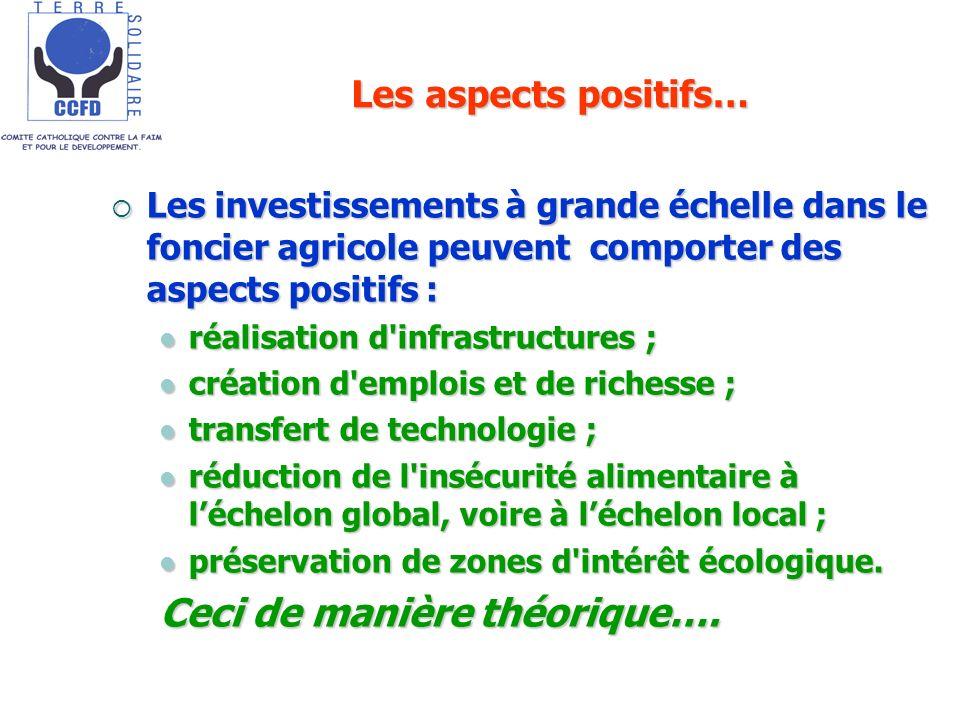 Les aspects positifs… Les investissements à grande échelle dans le foncier agricole peuvent comporter des aspects positifs : Les investissements à gra