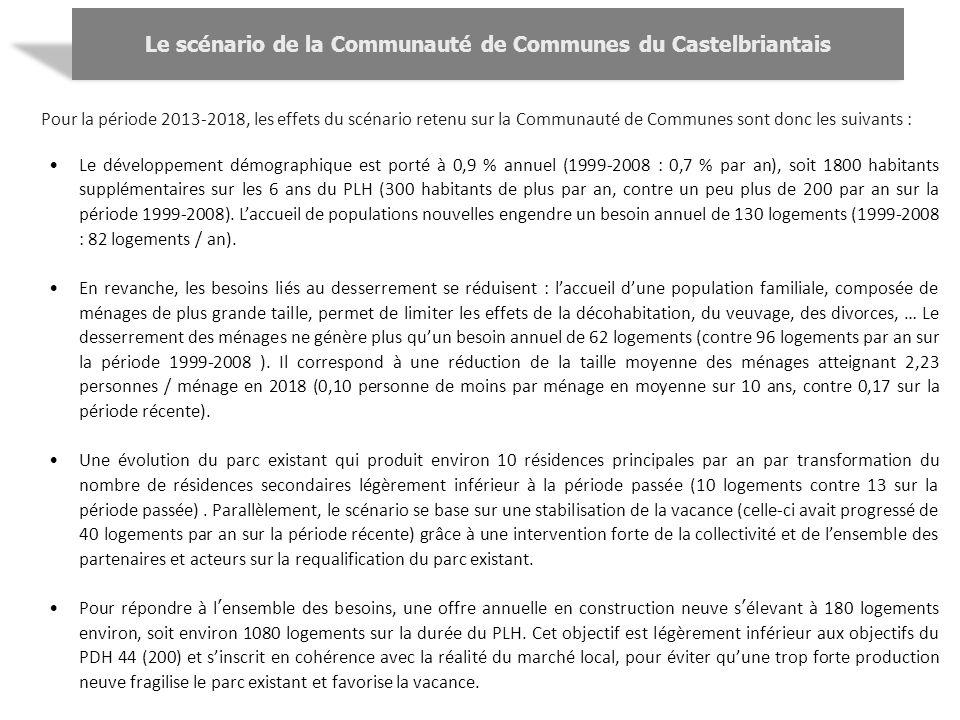 Pour la période 2013-2018, les effets du scénario retenu sur la Communauté de Communes sont donc les suivants : Le développement démographique est por
