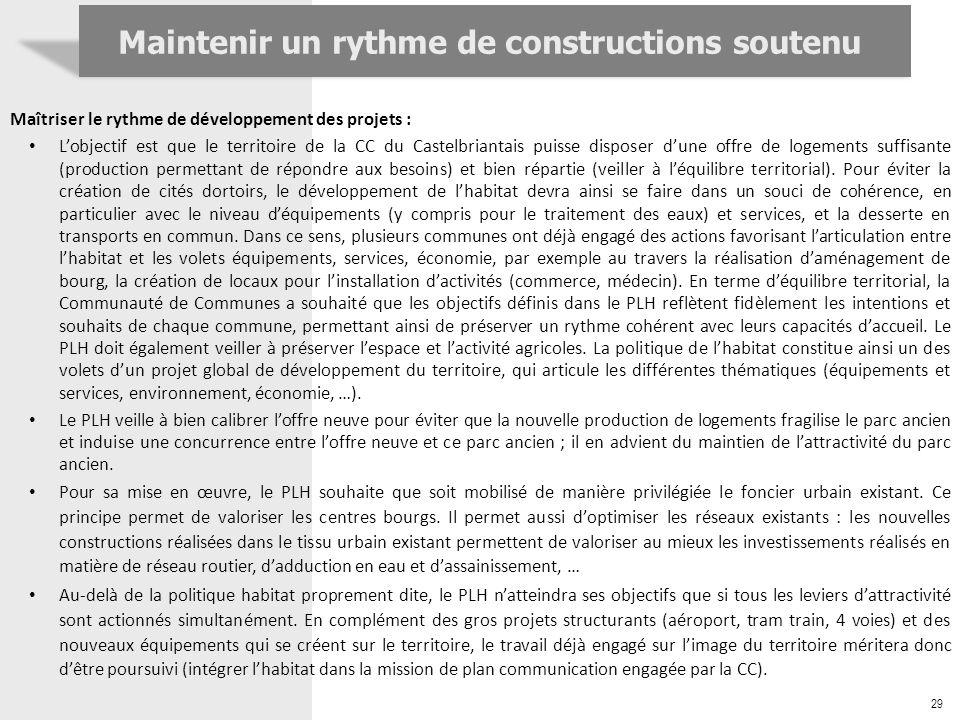 29 Maintenir un rythme de constructions soutenu Maîtriser le rythme de développement des projets : Lobjectif est que le territoire de la CC du Castelb