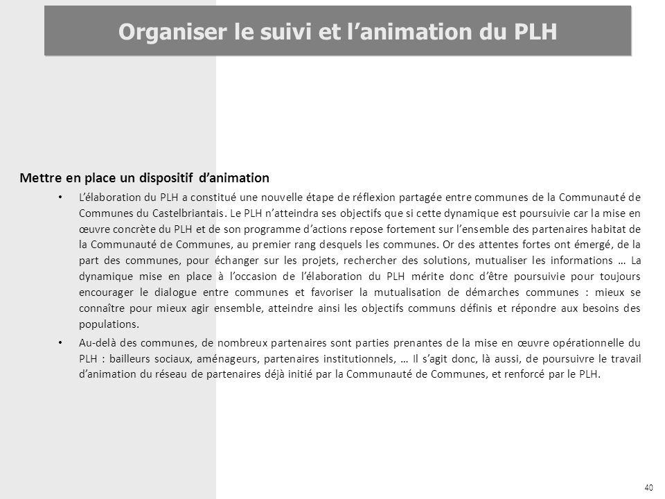 40 Organiser le suivi et lanimation du PLH Mettre en place un dispositif danimation Lélaboration du PLH a constitué une nouvelle étape de réflexion pa