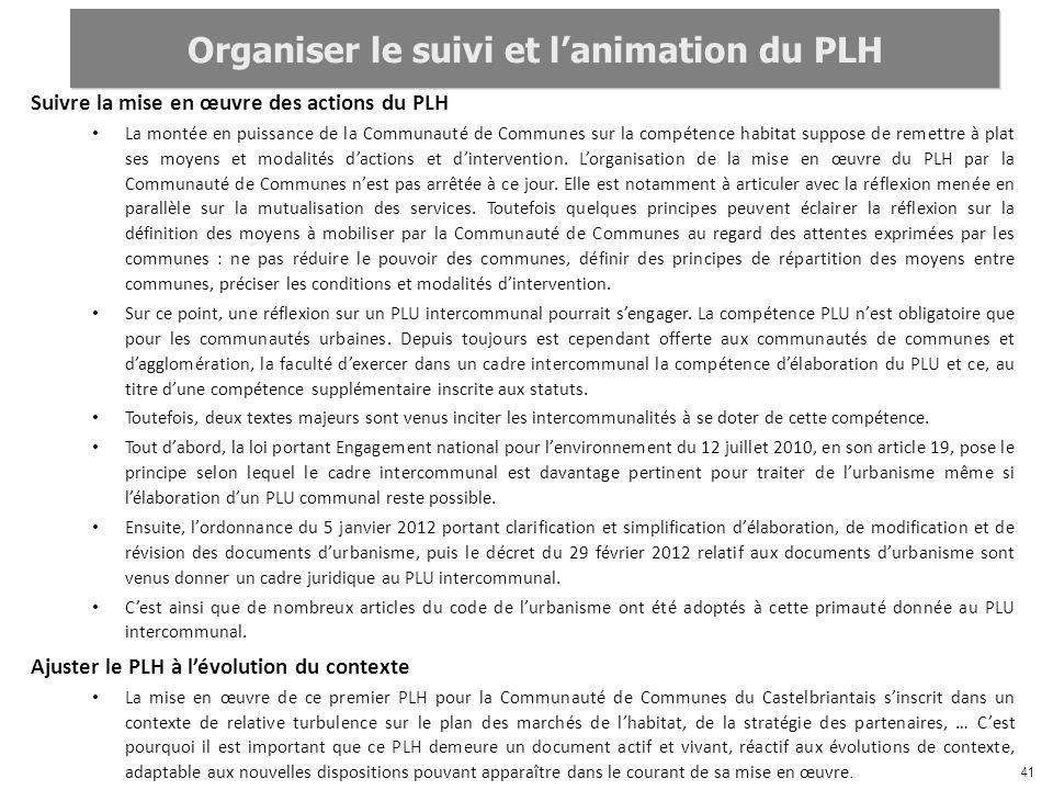 41 Suivre la mise en œuvre des actions du PLH La montée en puissance de la Communauté de Communes sur la compétence habitat suppose de remettre à plat