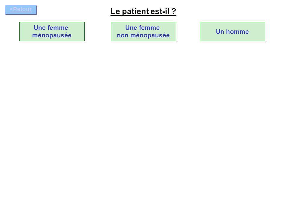 OUI Antécédent de fracture ostéoporotique .NON Une femme ménopausée Le patient est-il .