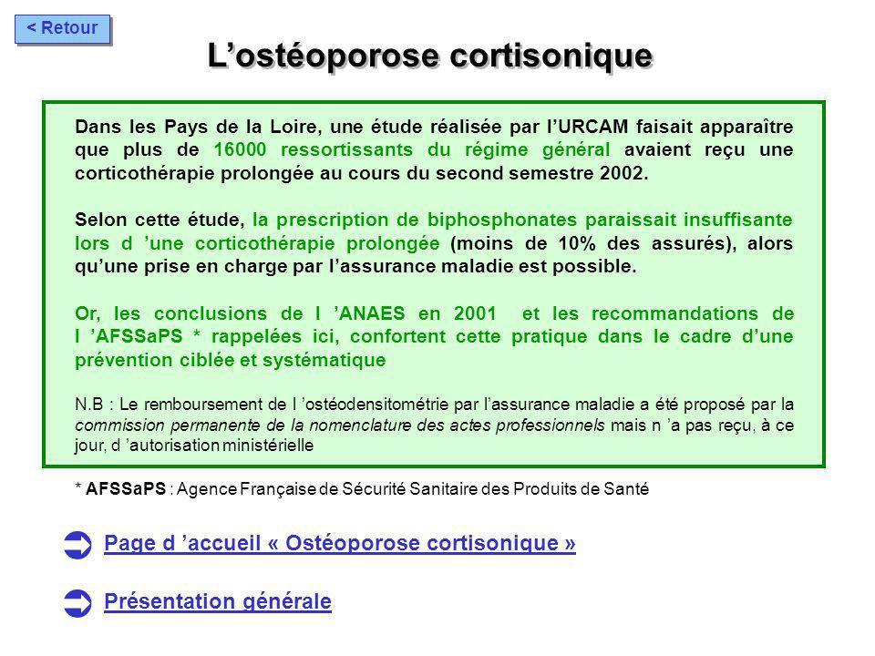 Lostéoporose cortisonique Dans les Pays de la Loire, une étude réalisée par lURCAM faisait apparaître que plus de 16000 ressortissants du régime génér
