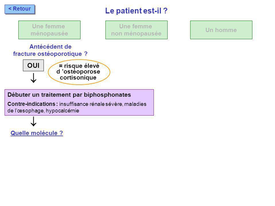 Débuter un traitement par biphosphonates Contre-indications : insuffisance rénale sévère, maladies de lœsophage, hypocalcémie Quelle molécule ? OUI Un