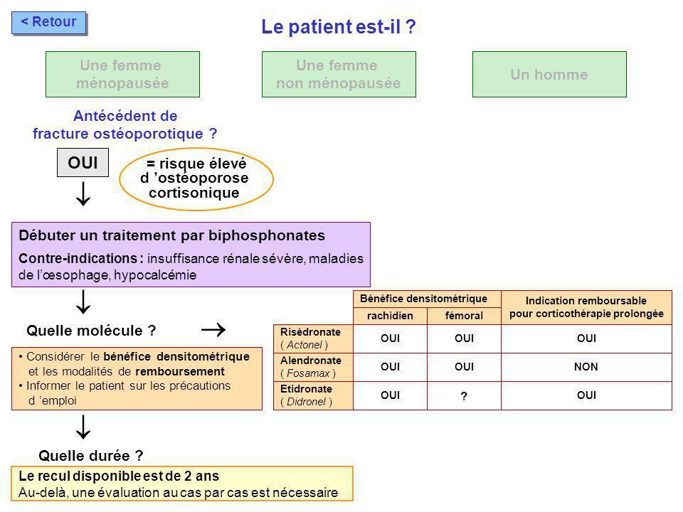 Considérer le bénéfice densitométrique et les modalités de remboursement Informer le patient sur les précautions d emploi Débuter un traitement par bi