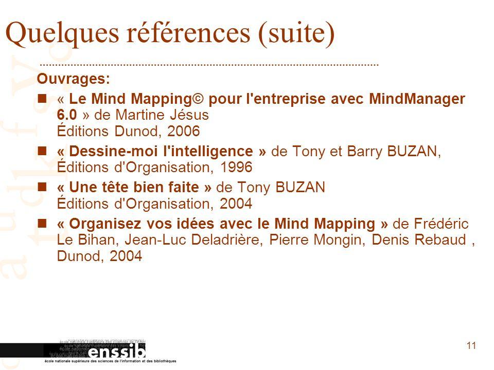 11 Quelques références (suite) Ouvrages: « Le Mind Mapping© pour l'entreprise avec MindManager 6.0 » de Martine Jésus Éditions Dunod, 2006 « Dessine-m