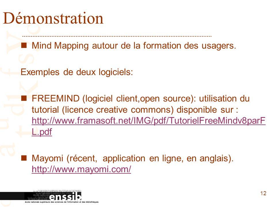 12 Démonstration Mind Mapping autour de la formation des usagers. Exemples de deux logiciels: FREEMIND (logiciel client,open source): utilisation du t