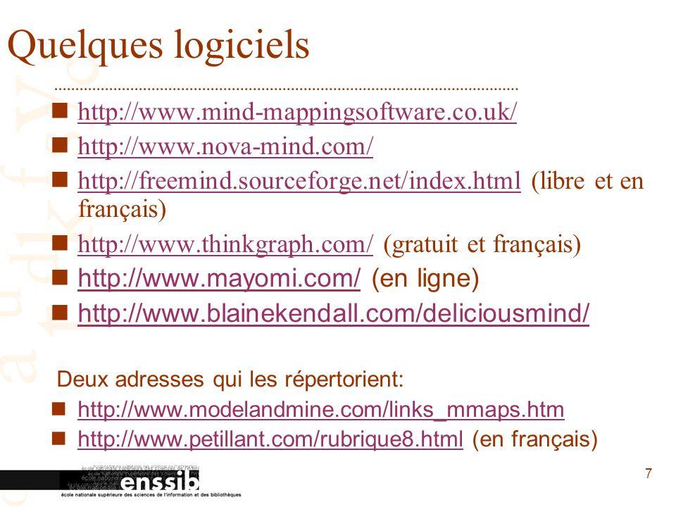 7 Quelques logiciels http://www.mind-mappingsoftware.co.uk/ http://www.nova-mind.com/ http://freemind.sourceforge.net/index.html (libre et en français