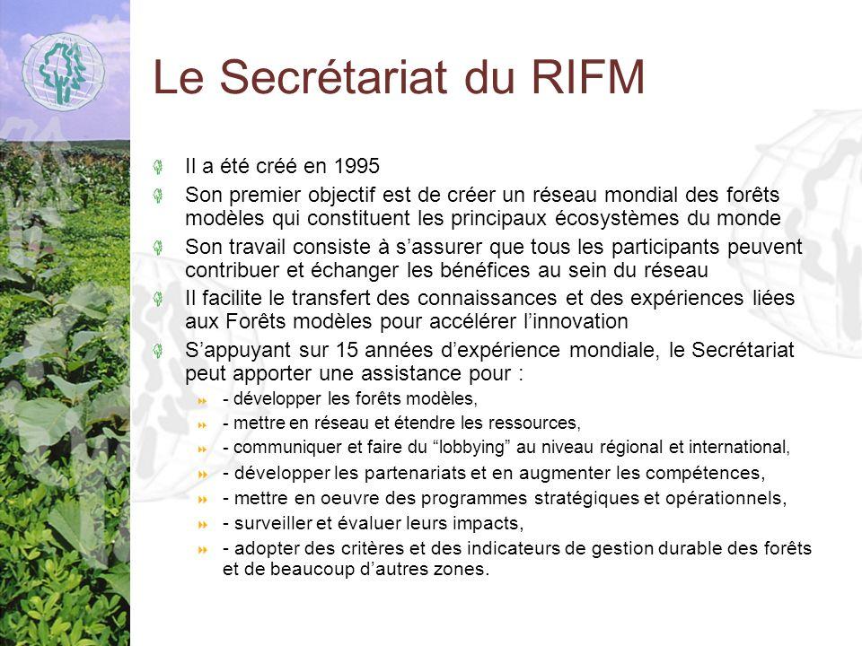 Le Secrétariat du RIFM Il a été créé en 1995 Son premier objectif est de créer un réseau mondial des forêts modèles qui constituent les principaux écosystèmes du monde Son travail consiste à sassurer que tous les participants peuvent contribuer et échanger les bénéfices au sein du réseau Il facilite le transfert des connaissances et des expériences liées aux Forêts modèles pour accélérer linnovation Sappuyant sur 15 années dexpérience mondiale, le Secrétariat peut apporter une assistance pour : - développer les forêts modèles, - mettre en réseau et étendre les ressources, - communiquer et faire du lobbying au niveau régional et international, - développer les partenariats et en augmenter les compétences, - mettre en oeuvre des programmes stratégiques et opérationnels, - surveiller et évaluer leurs impacts, - adopter des critères et des indicateurs de gestion durable des forêts et de beaucoup dautres zones.