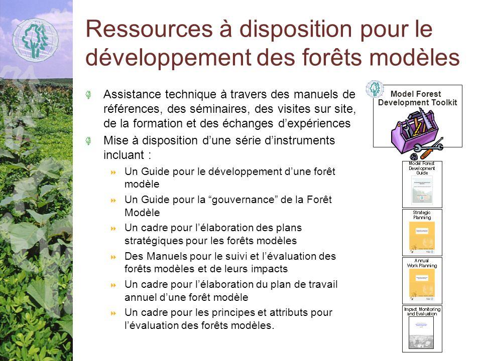 Ressources à disposition pour le développement des forêts modèles Assistance technique à travers des manuels de références, des séminaires, des visites sur site, de la formation et des échanges dexpériences Mise à disposition dune série dinstruments incluant : Un Guide pour le développement dune forêt modèle Un Guide pour la gouvernance de la Forêt Modèle Un cadre pour lélaboration des plans stratégiques pour les forêts modèles Des Manuels pour le suivi et lévaluation des forêts modèles et de leurs impacts Un cadre pour lélaboration du plan de travail annuel dune forêt modèle Un cadre pour les principes et attributs pour lévaluation des forêts modèles.