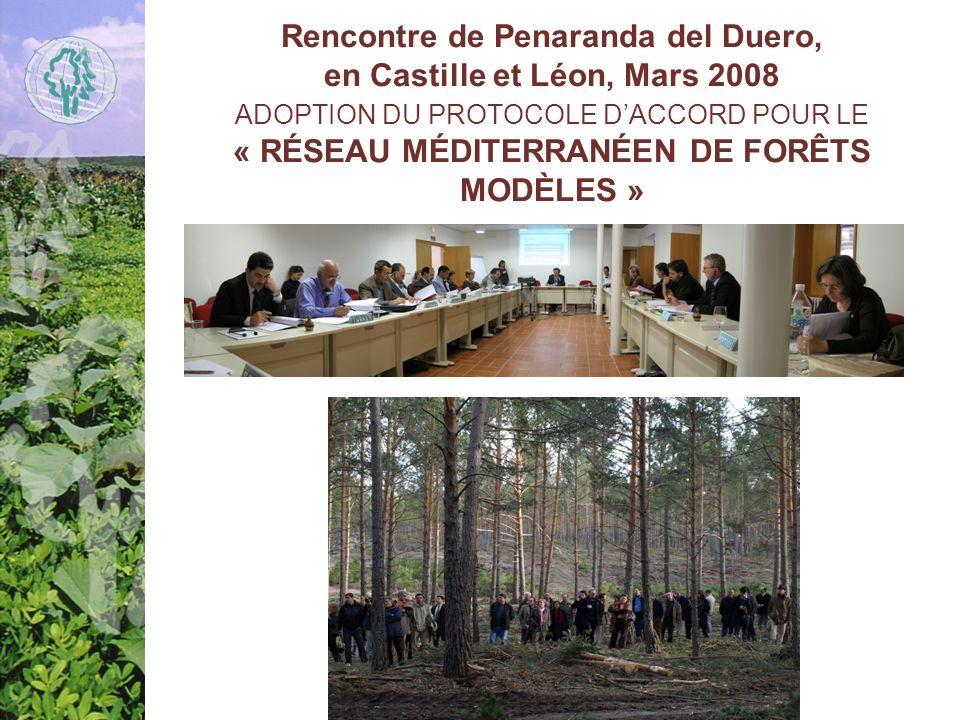 Rencontre de Penaranda del Duero, en Castille et Léon, Mars 2008 ADOPTION DU PROTOCOLE DACCORD POUR LE « RÉSEAU MÉDITERRANÉEN DE FORÊTS MODÈLES »
