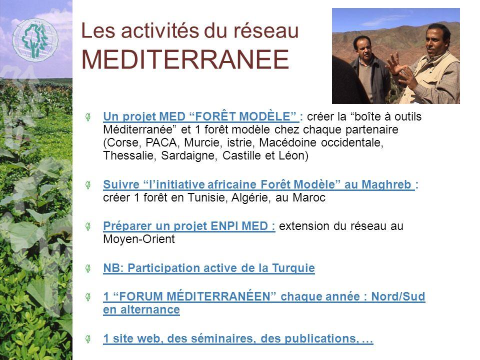 Les activités du réseau MEDITERRANEE Un projet MED FORÊT MODÈLE : créer la boîte à outils Méditerranée et 1 forêt modèle chez chaque partenaire (Corse, PACA, Murcie, istrie, Macédoine occidentale, Thessalie, Sardaigne, Castille et Léon) Suivre linitiative africaine Forêt Modèle au Maghreb : créer 1 forêt en Tunisie, Algérie, au Maroc Préparer un projet ENPI MED : extension du réseau au Moyen-Orient NB: Participation active de la Turquie 1 FORUM MÉDITERRANÉEN chaque année : Nord/Sud en alternance 1 site web, des séminaires, des publications, …
