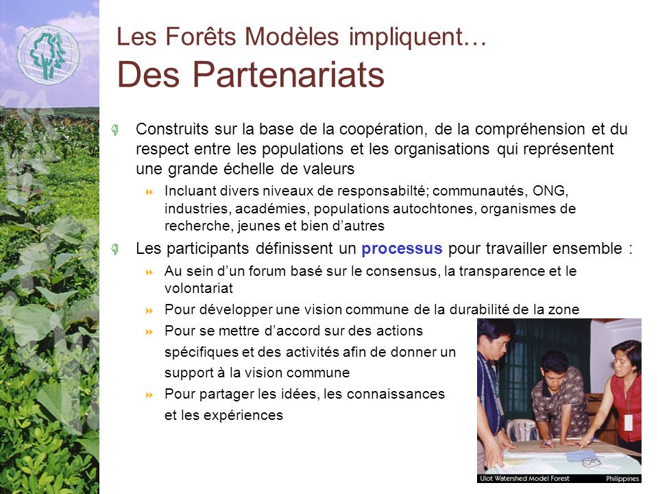 Les Forêts Modèles impliquent… Des Partenariats Construits sur la base de la coopération, de la compréhension et du respect entre les populations et les organisations qui représentent une grande échelle de valeurs Incluant divers niveaux de responsabilté; communautés, ONG, industries, académies, populations autochtones, organismes de recherche, jeunes et bien dautres Les participants définissent un processus pour travailler ensemble : Au sein dun forum basé sur le consensus, la transparence et le volontariat Pour développer une vision commune de la durabilité de la zone Pour se mettre daccord sur des actions spécifiques et des activités afin de donner un support à la vision commune Pour partager les idées, les connaissances et les expériences