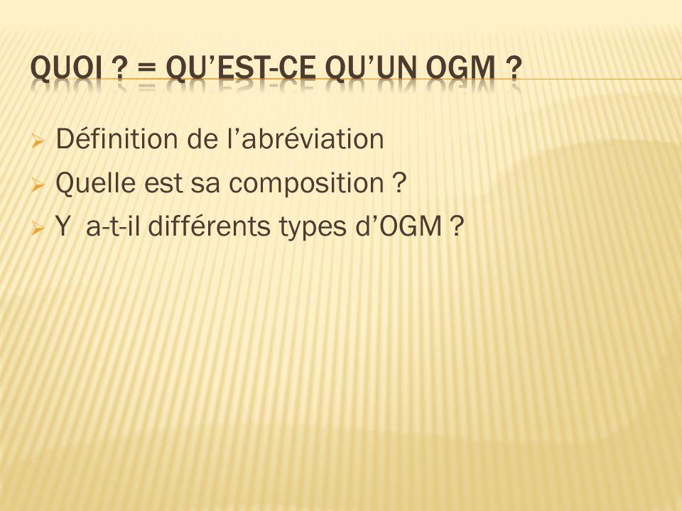 Définition de labréviation Quelle est sa composition ? Y a-t-il différents types dOGM ?