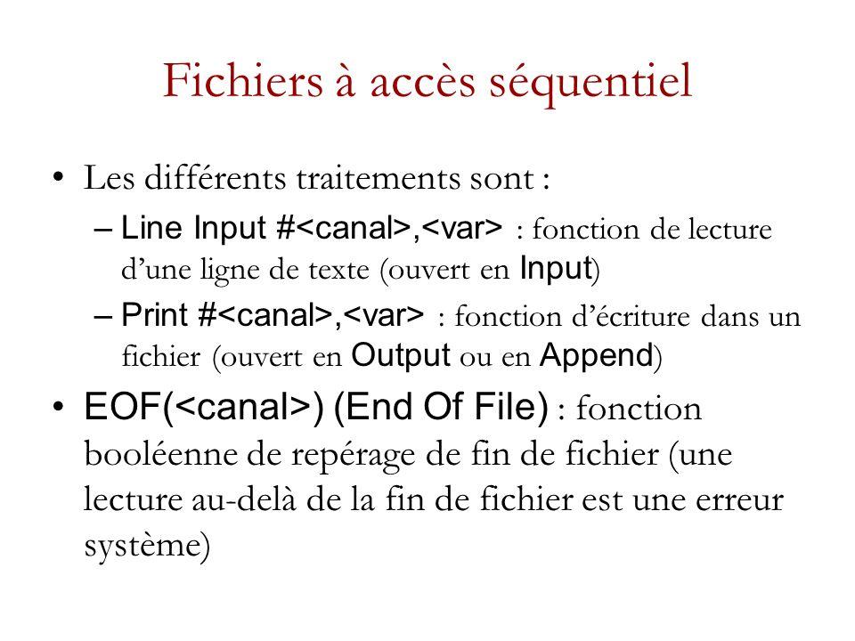 Fichiers à accès séquentiel Les différents traitements sont : –Line Input #, : fonction de lecture dune ligne de texte (ouvert en Input ) –Print #, : fonction décriture dans un fichier (ouvert en Output ou en Append ) EOF( ) (End Of File) : fonction booléenne de repérage de fin de fichier (une lecture au-delà de la fin de fichier est une erreur système)