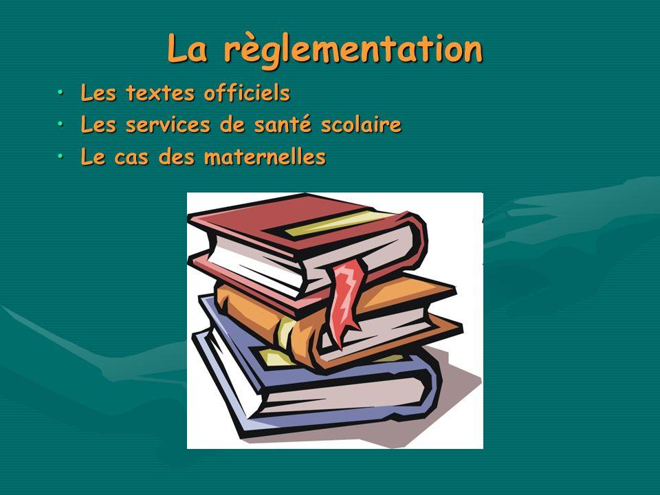 La règlementation Les textes officielsLes textes officiels Les services de santé scolaireLes services de santé scolaire Le cas des maternellesLe cas d