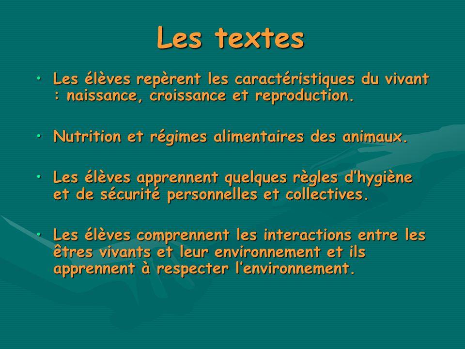 Les textes Les élèves repèrent les caractéristiques du vivant : naissance, croissance et reproduction.Les élèves repèrent les caractéristiques du viva