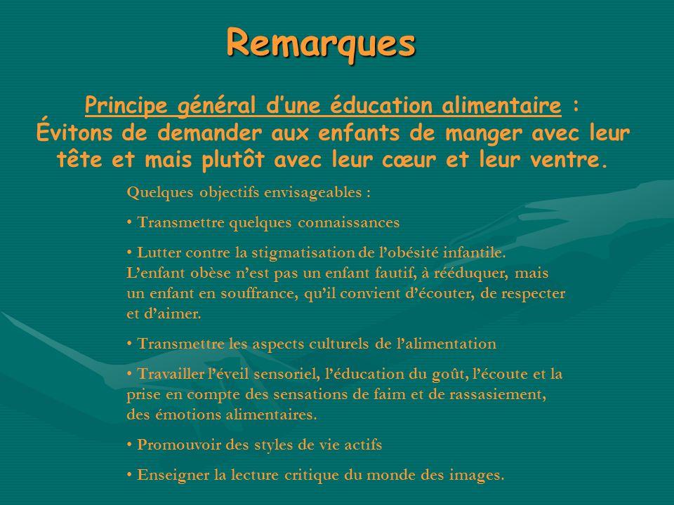 Remarques Principe général dune éducation alimentaire : Évitons de demander aux enfants de manger avec leur tête et mais plutôt avec leur cœur et leur