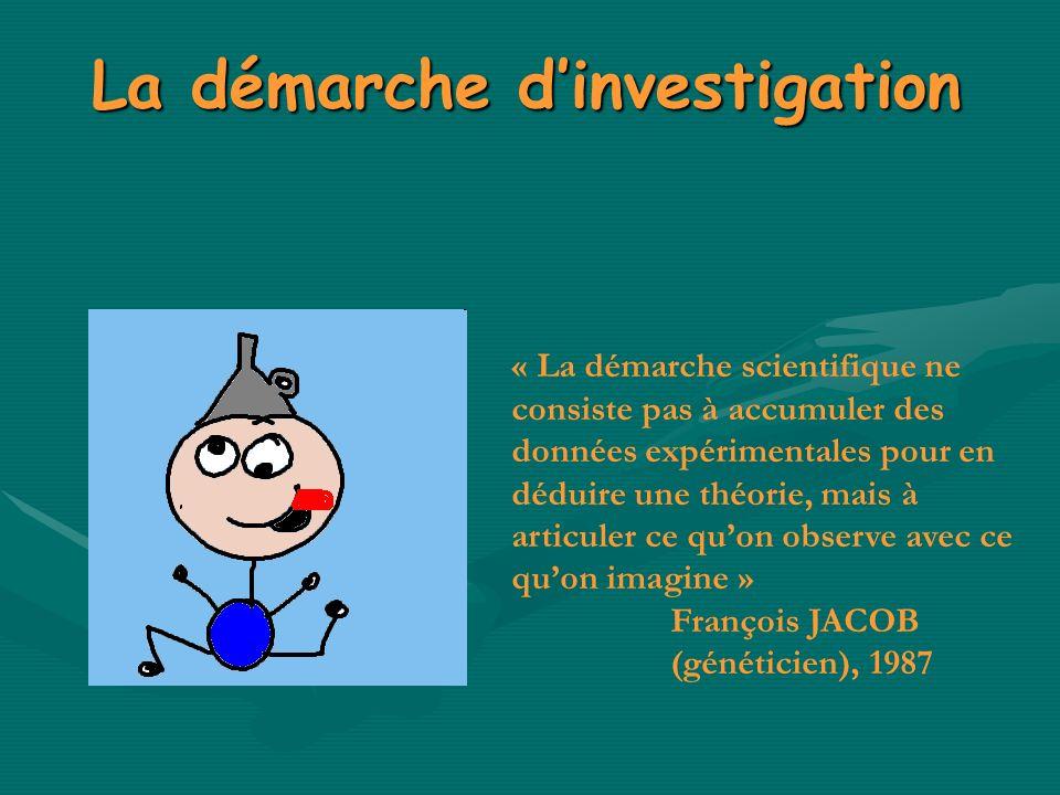 La démarche dinvestigation « La démarche scientifique ne consiste pas à accumuler des données expérimentales pour en déduire une théorie, mais à artic
