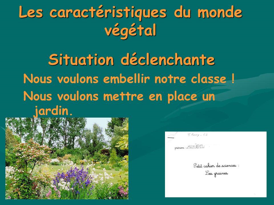 Les caractéristiques du monde végétal Situation déclenchante Nous voulons embellir notre classe ! Nous voulons mettre en place un jardin.