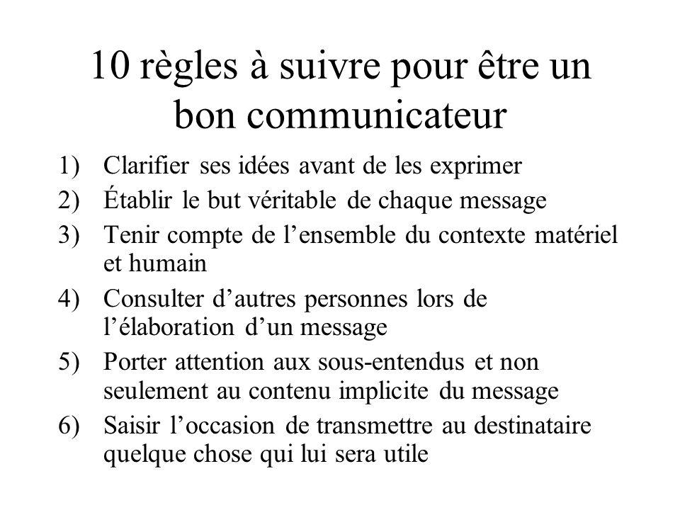 10 règles à suivre pour être un bon communicateur 1)Clarifier ses idées avant de les exprimer 2)Établir le but véritable de chaque message 3)Tenir com