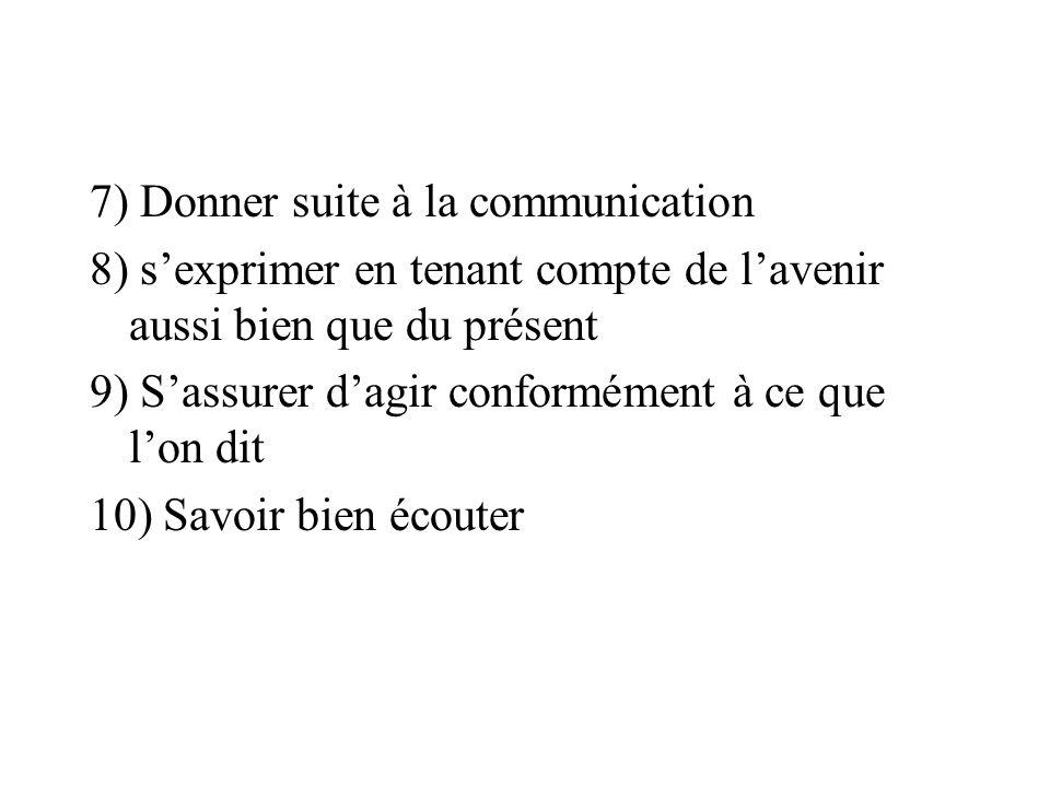 7) Donner suite à la communication 8) sexprimer en tenant compte de lavenir aussi bien que du présent 9) Sassurer dagir conformément à ce que lon dit