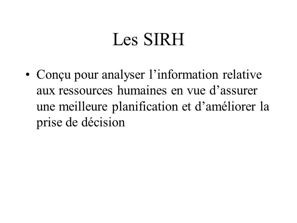 Les SIRH Conçu pour analyser linformation relative aux ressources humaines en vue dassurer une meilleure planification et daméliorer la prise de décis