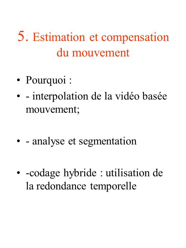 5. Estimation et compensation du mouvement Pourquoi : - interpolation de la vidéo basée mouvement; - analyse et segmentation -codage hybride : utilisa