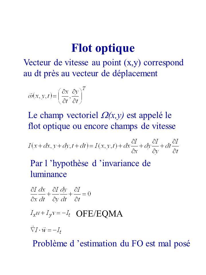 Flot optique Vecteur de vitesse au point (x,y) correspond au dt près au vecteur de déplacement Le champ vectoriel (x,y) est appelé le flot optique ou