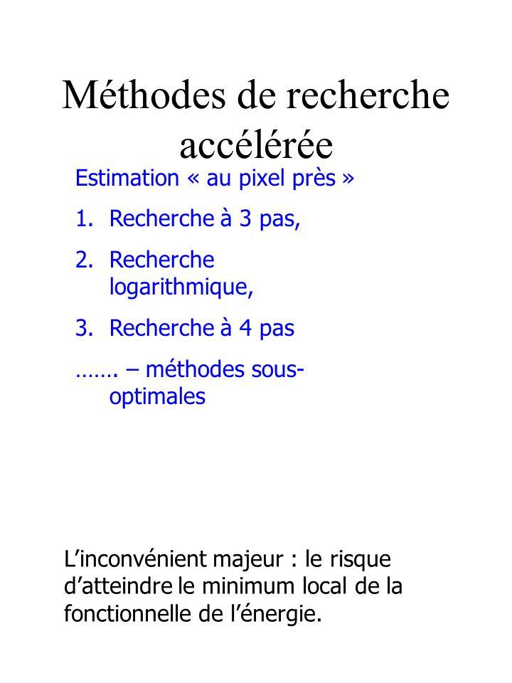 Méthodes de recherche accélérée Estimation « au pixel près » 1.Recherche à 3 pas, 2.Recherche logarithmique, 3.Recherche à 4 pas ……. – méthodes sous-
