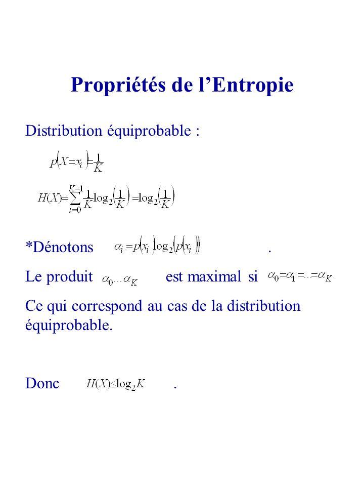 Distribution équiprobable : *Dénotons. Le produit est maximal si Ce qui correspond au cas de la distribution équiprobable. Donc. Propriétés de lEntrop