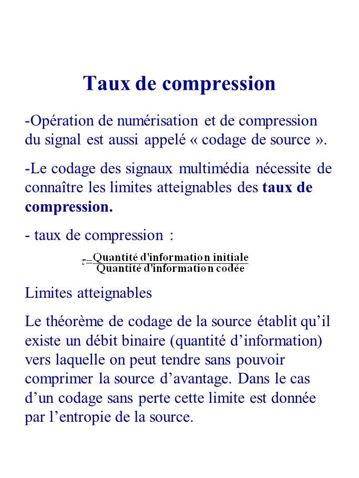 Taux de compression -Opération de numérisation et de compression du signal est aussi appelé « codage de source ». -Le codage des signaux multimédia né