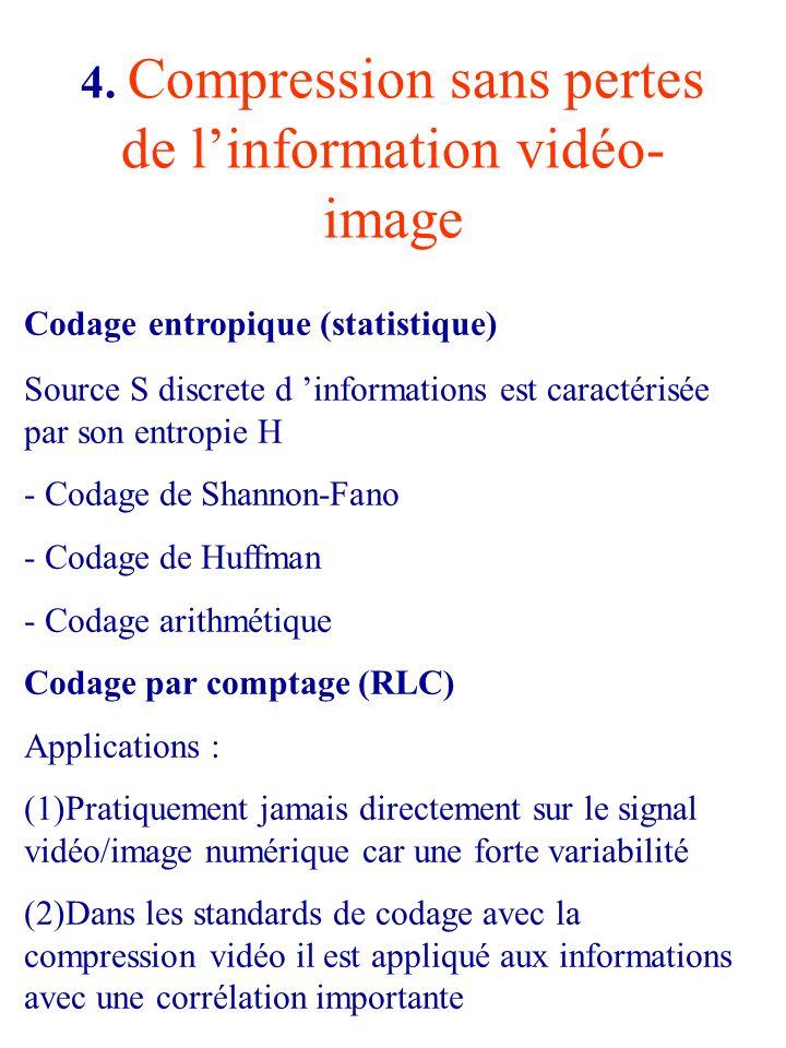 4. Compression sans pertes de linformation vidéo- image Codage entropique (statistique) Source S discrete d informations est caractérisée par son entr