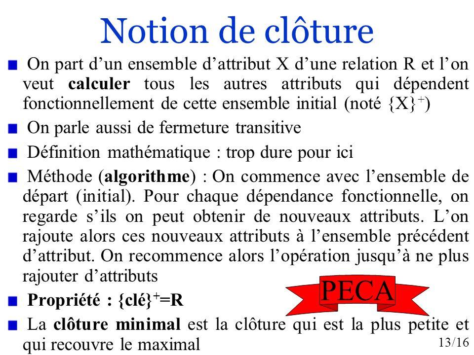 13/16 Notion de clôture On part dun ensemble dattribut X dune relation R et lon veut calculer tous les autres attributs qui dépendent fonctionnellement de cette ensemble initial (noté {X} + ) On parle aussi de fermeture transitive Définition mathématique : trop dure pour ici Méthode (algorithme) : On commence avec lensemble de départ (initial).